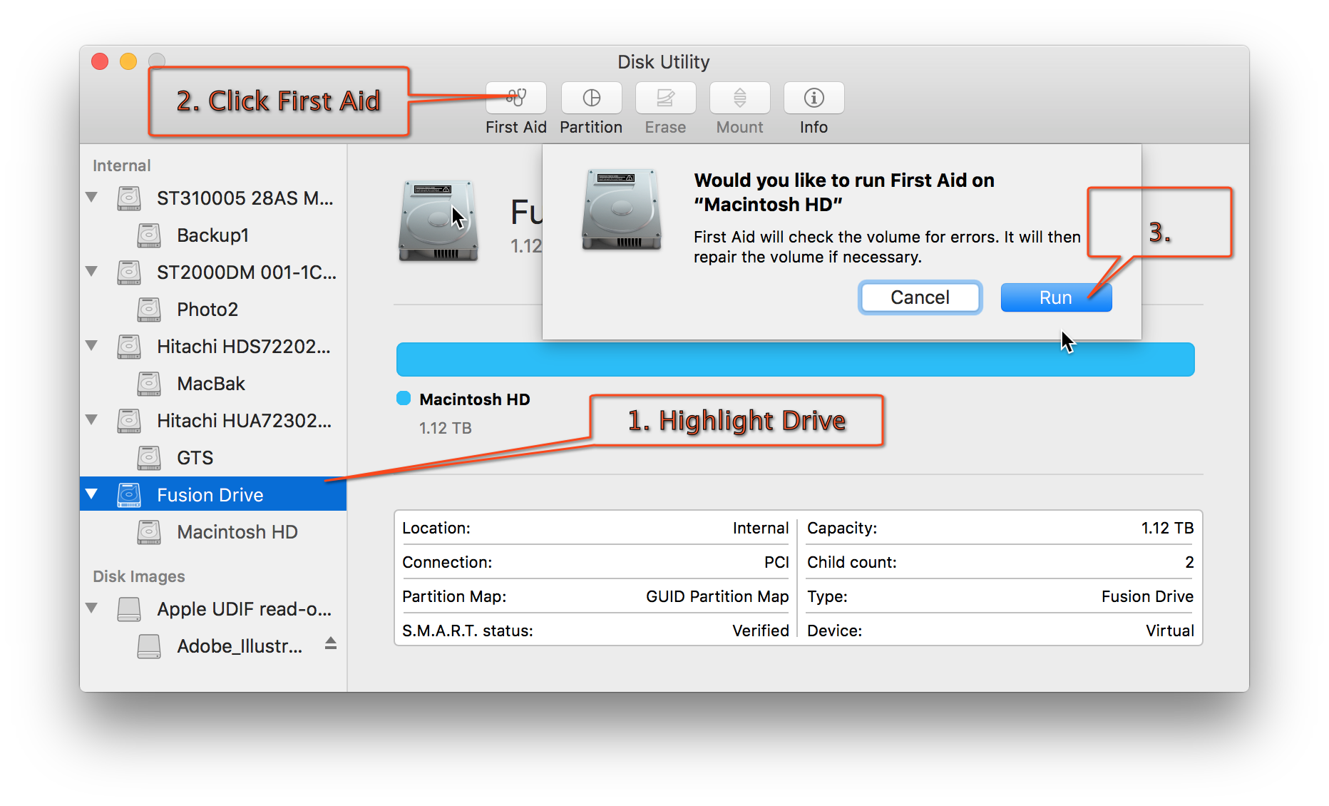 Applications utilities disk utility app 1 select macintosh hd in the left sidebar 2 click first aid